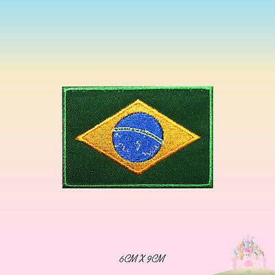 BRAZIL FLAG PATCH Embroidered Badge Iron Sew 3.8cm x 6cm Brasil South America