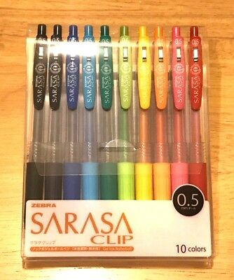 Zebra SARASA CLIP 10 set of Color Gel Ball Pen 0.5 mm Ballpoint Pens