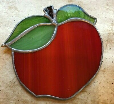 Vintage Handmade Original Authentic Leaded Stained Glass Green Apple Sun-catcher