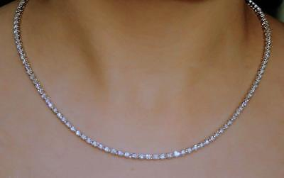 USA Made Natural Diamond Tennis Necklace 5ct Eternity 14k Whte Gold