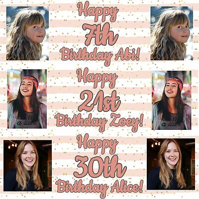 Rose Gold Personalised Banners Birthday Party Decorations Image Name Age Girls