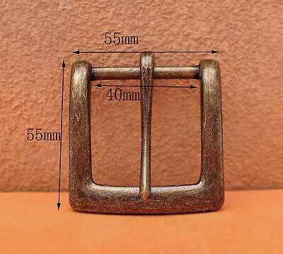 40mm Retro Brass Two-tone Heavy Square Single Metal Prong Pin Clips Belt Buckle