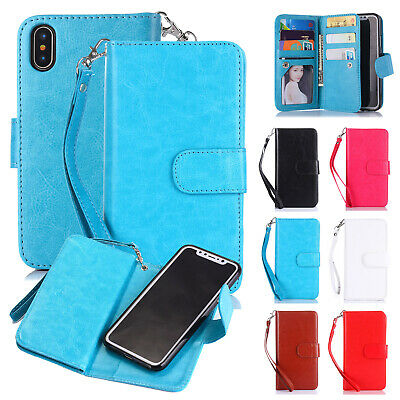 Magnetic Wallet Leather 9 Card Pocket Flip Strap For iPhone 6/7/8 XS Max XR Case