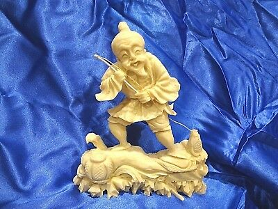 Vintage Chinese Fisherman Figurine Catching a Fish GOOD LUCK Statue