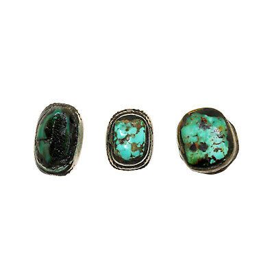 (2463) Antique Tibetan turquoises set in silver and brass