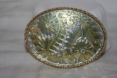 Vintage W USA Made Silver and Gold Etched Floral Western Belt Buckle