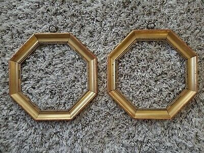 Pair of Antique Victorian Picture Frame Octagon Octagonal RARE Wood Gold Vintage