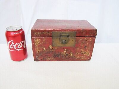 Antique 18th Century Japanese Rad Lacquer & Gold Hand Painted Storage Box.