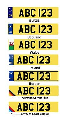 White Yellow Pair Show Plates Number Name Flag EU GB England Scotland Wales BMW