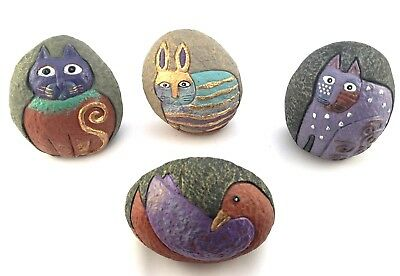 Set of 4 Carved and Hand Painted Rock/Stone Paperweights or display
