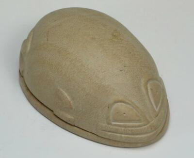 Vintage Pre Columbian Aztec Carved Soapstone Frog Box Dish Egg Figure Mayan