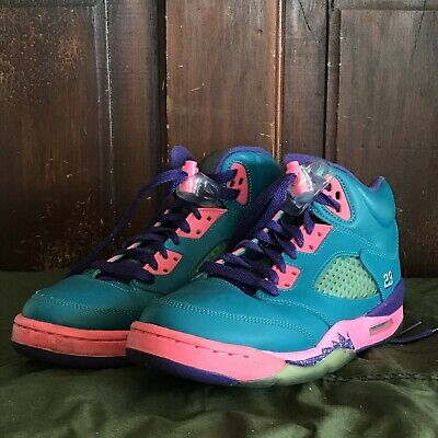 best service d6065 c837d Nike Air Jordan Retro V 5 Tropical Teal Basketball Girls 5.5Y Shoes 440892- 307
