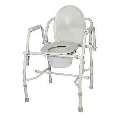Commode Chair, Deluxe, Steel, Drop Arm, Seat Lid, Gray, Drive Medical