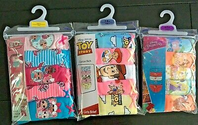 Girls Knickers Briefs Underwear 5 Pairs LOL DISNEY PRINCESS TOY STORY Age 2-10