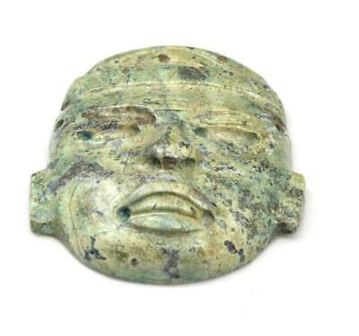 Antique Pre Columbian Teotihuacan Funeray Serpentine Stone Mask Carved Mayan