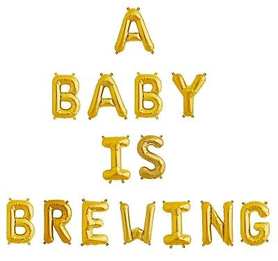 Baby Shower Letter Balloons.A Baby Is Brewing Letter Balloons 16 Gold Baby Shower