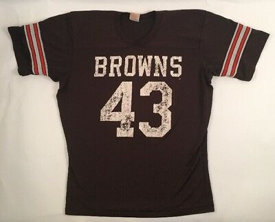 80s Vtg NFL Cleveland Browns Sz LARGE Jersey T Shirt Rawlings 43 Mike Pruitt