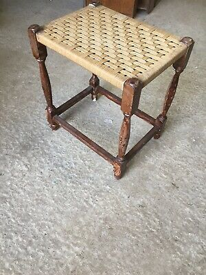 Vintage Traditional Fireside Stool String Weave Seat 12/3/G