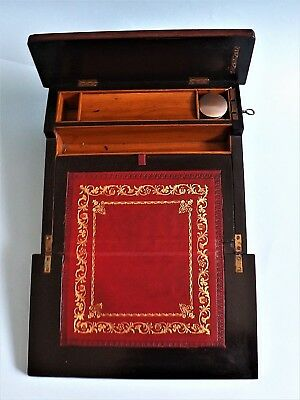 Victorian ~ Ladies Rosewood & Mother Of Pearl Writing Slope ~ Working Lock & Key