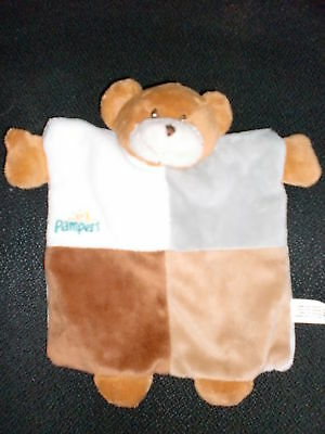 doudou plat marionnette ours blanc brun PAMPERS