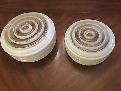 VINTAGE Frosted ART DECO FLUSH MOUNT CEILING LIGHT FIXTURE BATHROOM/KITCHEN
