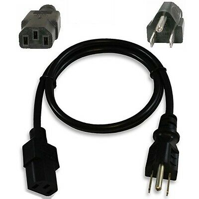 Lot2 2pk 3ft 18awg Short Standard Power Cord/Cable/Wire PC/TV IEC320 C13 10A125V
