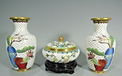 China Chinese Three Piece Cloisonne Garniture w/ Floral Decor ca. 20th century