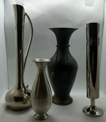 Vintage Bud Vase's 4no 2 Plated 1 Pewter And 1 Copper