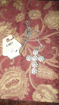 "Cato Silvertone Large Cross Necklace W/ Faux Pearls And Rhinestones 28"" L Nwt"