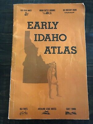 VINTAGE Early IDAHO Atlas Map book 1978 Gold Mine Indian Battle Military History