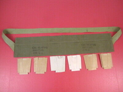 post-WWII US Army Cloth Bandolier Repack Kit M1 Garand .30 Cal OD Green 1954 #1