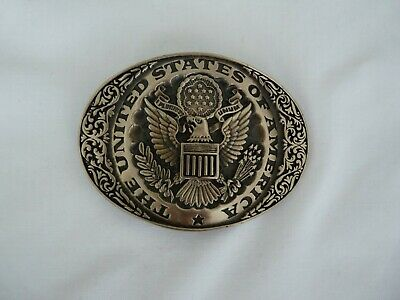 Vtg 80s The United States Of America Seal Patriotic Western Brass Belt Buckle