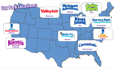 (6) Cedar Fair Theme Park Tickets - Valid at All Parks mail only with tracking
