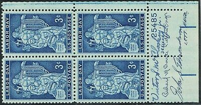 Rare Autographed US Labor Day Issue (No.1082) Plate Block (4) - MNH, OG