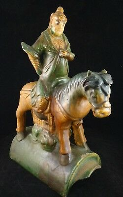 """Chinese Ming dyn. Sancai Glaze Pottery Horse & Rider Roof Tile.16/17th , 13 1/8"""""""