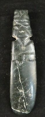 """Pre-Columbian Costa Rican carved Jade Axe God, c. 800 ad. 4 ¾""""x 1 1/8""""."""