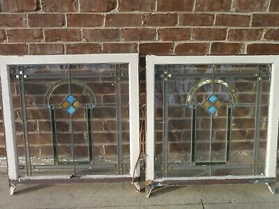 "2 Set Antique 1920's Chicago Bungalow Stained Leaded Glass Windows 32"" x 30 Pair"