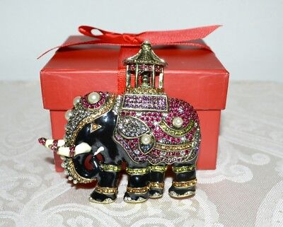 New $220 HEIDI DAUS Queen of Siam Elephant Designed Enamel Crystal Pin