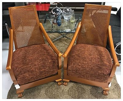 Pair of Upholstered and Wood Copper Mid Century Arm Chairs