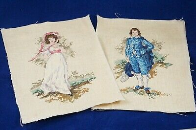 Vintage Set Cross Stitch Pair Of Victorian Romantic Couple Needlepoint Completed