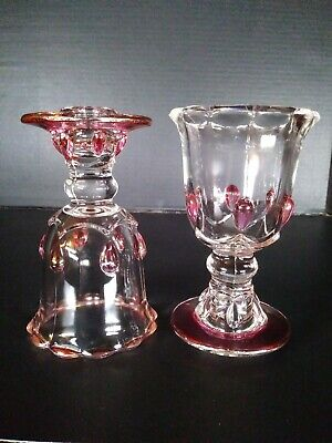 Vintage INDIANA GLASS Cranberry Flashed REVERSIBLE Candle Holder - Beads, Drops
