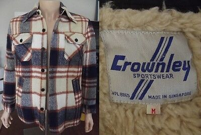 Vtg 60's RANCHER PLAID Sherpa Lined CHORE COAT WESTERN Jacket M MEDIUM anchor