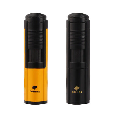 COHIBA Yellow Metal 1 Torch Jet Flame Cigar Cigarette Lighter Butane Windproof