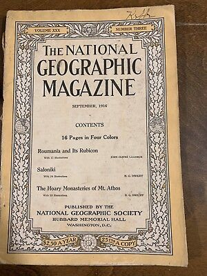 National Geographic, 1916, September. Vg.   Mt Athos Monasteries.  Color