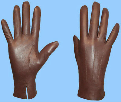 NEW WOMENS LIGHT BROWN size 8 or XL LEATHER GLOVES-ACRYLIC LINED-FREE SHIPPING!