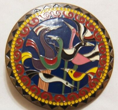 dfe877ea6cc0c Vintage Brass and Enamel Birds Belt Buckle Made in India 2 3/8