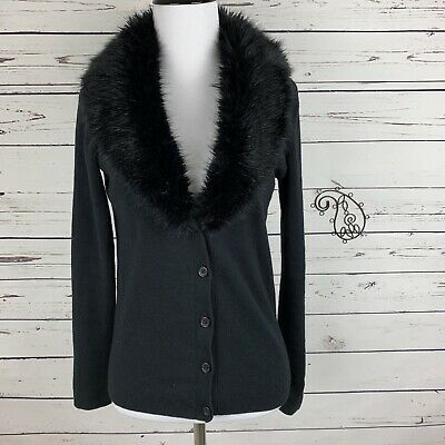 7bf5bf8a713 BONGO BLACK CARDIGAN Sweater Womens Juniors Faux Fur Collar Size S ...