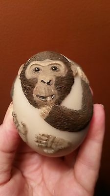 1986 Bristar Collectible Monkey Marble Sculpture Carving