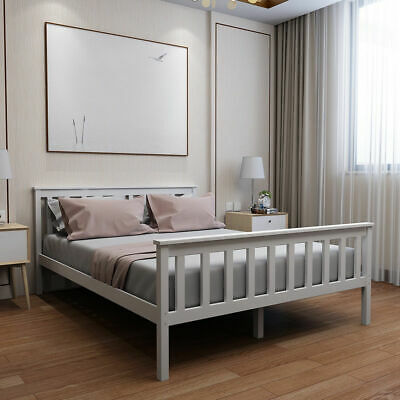 Double 4ft6 Wooden Bed Frame in White Home Strong Solid Modern Stylish Bedstead