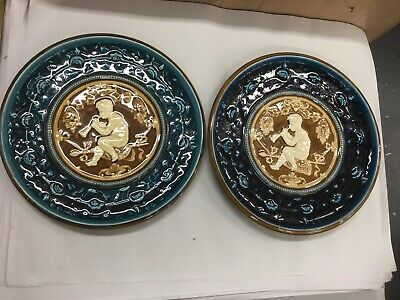 Antique Majolica Ludwig Richard Schutz 2X Large Charger Cabinet Cherub Plates